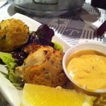 Crab cakes (with sun-dried tomato aioli, typically served with tartar sauce)