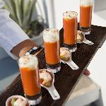 CANAPES! :TOMATO AND RED PEPPER SHOTS WITH FETA FOAM AND PRAWNS ON AVOCADO MOUSSE WITH WATERMELO