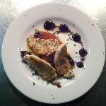 Appetizer Special: Blackened Mahi over Spicy Tomato Water Ice Quenelles