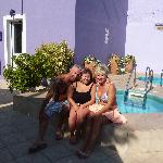 My wife & I with  new friend Charlotte by the Jacuzzi's