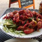 Spicey hot boiled crawfish and cold beer - nothing better in a hot day! :)