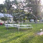  Grassy yard with barbeque, games, and swing