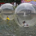 Air balls on water with little peeps inside!