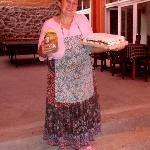  Maria, Miorara&#39;s mother with our dessert for dinner