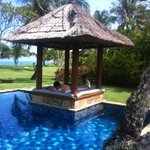 Main Pool overlooking the beach and Villa ground. Pavilion great for massage