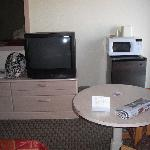 TV, fridge and microwave