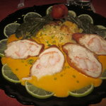  Schnitzel style: chicken stuffed with shrimp, with a delicious sauce and potatoes to die for