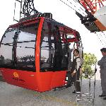 the brand new and spacious cable car