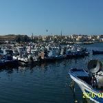  The Port of the island Favigigna with all  the small blue fishingboats
