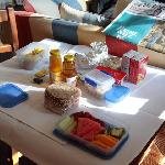 Our first breakfast basket - croissants and muffins still in tin foil