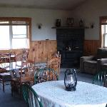  Our lodge style room with wood stove and TV