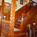  Staircase showing beautiful woodwork.