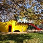 Giant wooden shoe playground