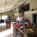 The breakfast buffet in the combined lounge and kitchen
