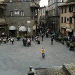 This is the square of Cortona, very lively during day, dies down at night, but there are a coupl