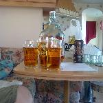 The inside of the caravan with our cornish Cyder from the cyder farm(only a short drive away)