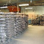 Lots of pottery ware waiting to be finished in the production area.