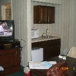 Corner with microwave, refrigerator and sink - Radisson Chelmsford