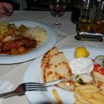 Main courses of rabbit stifado and souvlaki
