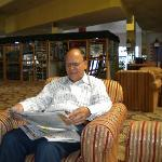 author in the lobby of Monarch