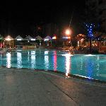 Poolside at night.
