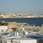 Amazing View from our restaurant to new port and Mykonos Town