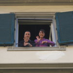 Owner and girlfriend at the window to waive goodbye.