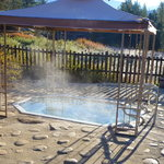 The outdoor hot tub early in the morning