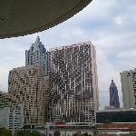 View from the south tower, tenth floor, looking up to the Marriott Marquis. Sheraton's north tow