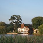 Montagu Arms from across the lake