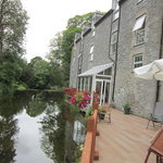 The deck beside the river at The Maltings, Birr, Ireland