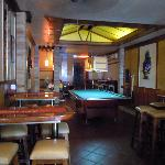 Hotel lobby with pool table