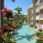  View od swim up rooms with lagoon pool flowing past