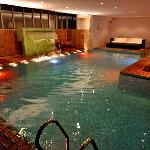 Lap Pool with Jacuzzi & Fountains Around