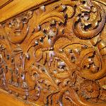  Carved mantel above fireplace