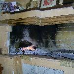 The lovely fireplace in the Stavrodromi taverna.