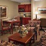 Suites feature a spacious living area.