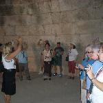 A tour group inside the tomb.