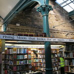 Inside the bookshop - note the train
