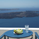 Breakfast overlooking the Caldera!