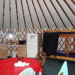  limited view of the inside of the yurt