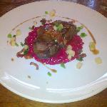 Calf liver with beetroot rissoto