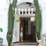  Entrance to the hotel - decoration&#39;s adorning the door were placed for the Loy Krathong festival