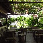  The outside eating area