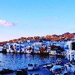 view of Little Venice, Mykonos, (and the Sunset Taverna