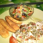 Snapper, plantains and salad