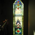 Stained Glass window from original St. Vincent Catholic Church in Seward