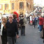 Andrea (center near red plumed helmet) at the Spanish Steps, a stop on the tour