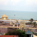 An aerial view of the Bhagavathi Amman Temple, Kanniyakumari