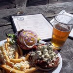 blue cheese burger and parmesian fries